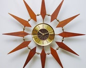 Starburst Clock by Elgin.  Mid Century Modern, Atomic Wall Clock, Fireworks Sunburst Clock Design