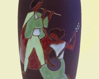 1950s Kiechle West Geman Art Pottery Vase.  Midcentury Woodwind and Stringed Musical Instruments
