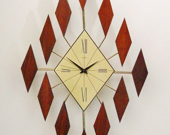 Mid Century Modern Starburst Clock of Diamonds.  1960s Diamond Sunburst.