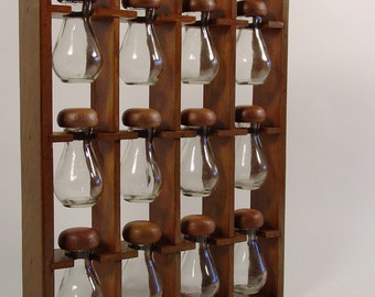 Spice Rack, Mid Century Wood Wooden Spice Rack with 12 Glass Bottles. Hanging Hobby and Bead Sorter, Hardware Sorter