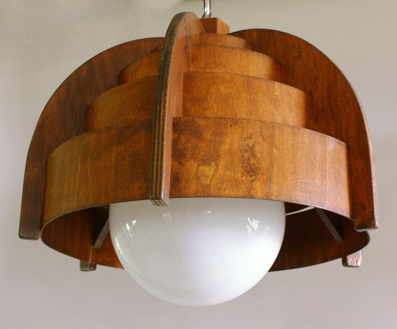 RESERVED FOR DAVID  Pendant Lamp Mid Century Modern, 1960s 1970s, Teak Swag Lamp
