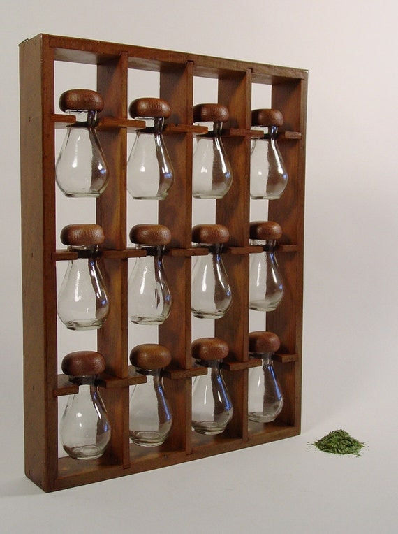 Spice rack mid century wooden with
