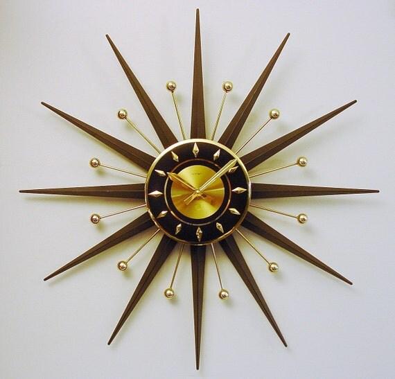 Starburst Clock Uber Cool Mid Century Modern Atomic Wall