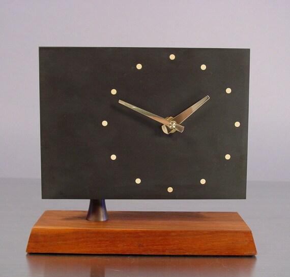Mid Century Desk Clock, Slate and Walnut by Harpswell House.  att to Paul Evans.