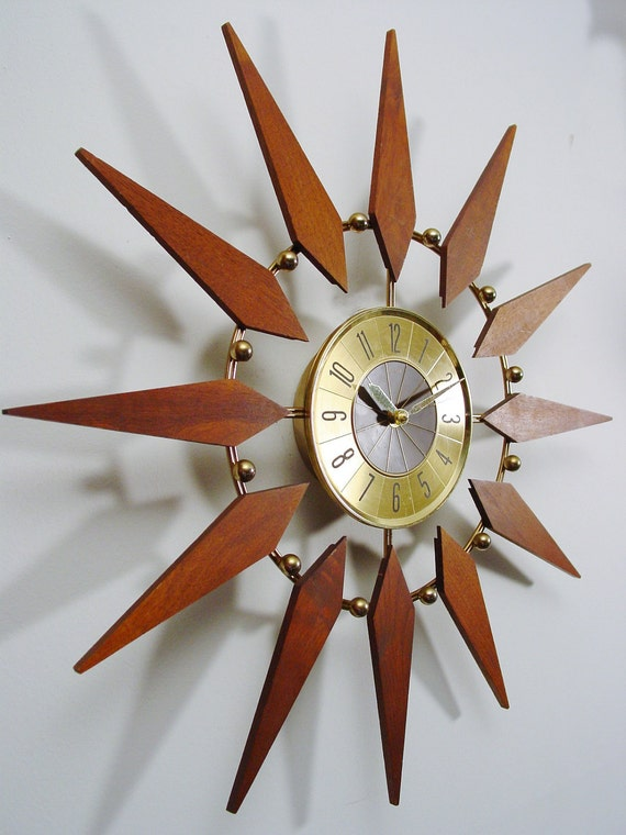 Starburst Clock By Elgin Mid Century Modern Atomic Wall