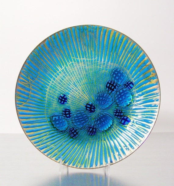 Mid Century Modern Enamel on Copper by AnneMarie Davidson of California.  Mid Century Copper Enamel.