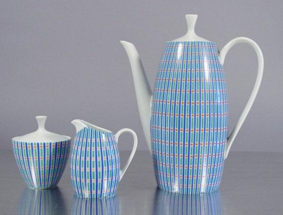 RESERVED CURRENTLY for M.  Mid Century Porcelain Coffee Service 2025 by Arzberg. German Modernist, Color Kolor Dekor,  Goldene Medaille 1957