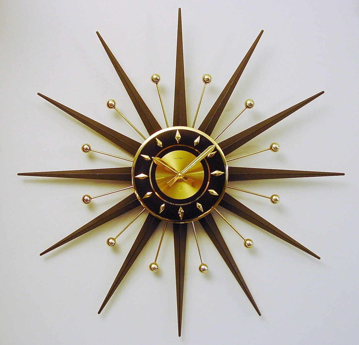 starburst clock uber cool mid century modern atomic wall
