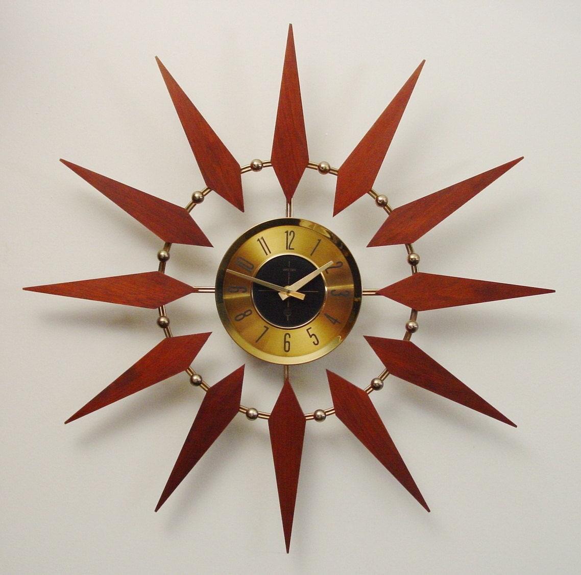 1960's Starburst Clock by Welby. Mid-Century Modern