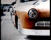 Retro 1950s Mercury Classic Car Photography - flames headlight grille chrome hot rod 20x20