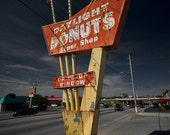 Retro 1950s Sign Photo - Daylight Donuts - Tulsa, Oklahoma - fifties route 66 classic diner 16x24