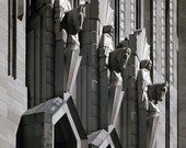 Stone Horsemen - Infrared Black & White Photo - cathedral edifice statue gargoyle sculpture 8x12