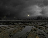 Post-Apocalyptic Industrial Fine Art Photo - Eternal Winter - refinery factory rock river panorama 8x20