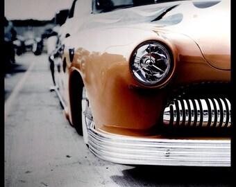 Retro 1950s Mercury Classic Car Photography - flames headlight grille chrome hot rod 20x20