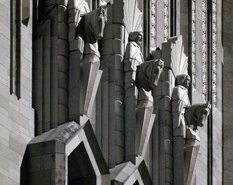Stone Horsemen - Infrared Black & White Photo - cathedral edifice statue gargoyle sculpture 8x12