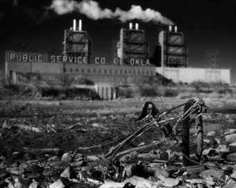 Infrared Black & White Photograph - Bicycle - industrial post-apocalyptic power plant dystopia 12x18