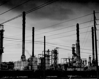 Fine Art Black & White Industrial Photograph - Blackened - oil industry refinery factory 12x18