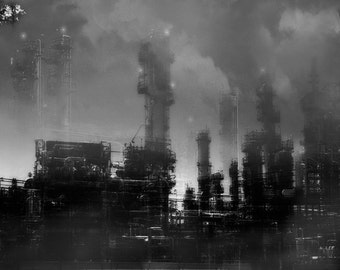 Industrial Fine Art Composite Photograph - Night Shift - post-apocalyptic infrared dark oil refinery factory 16x24