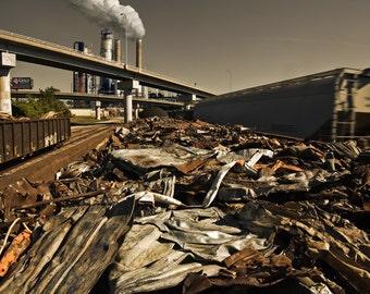 Scrap - Industrial Fine Art Photograph Composite - Railway Rust Metal post-apocalyptic - 16x24