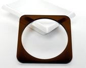 FREE SHIPPING - Plexiglass Jewellery - Fancy Plexi Bracelet (Brown / Square) - gifts under 25