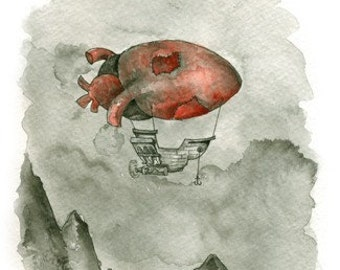 Heart-shaped Dirigible. Watercolor print signed by Cory Basil 5x7