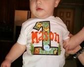 Custom Jungle Safari Name First Birthday T-Shirt  w Lion, Tiger, Elephant, Giraffe Monkey