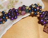 Vintage cluster pearl bead earring bracelet purple bridesmaid
