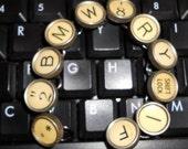 Vintage typewriter key bracelet, yellow BMW