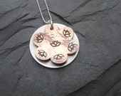 Metal Stamped Lotus Flower Necklace Mixed Metal Copper and Silver