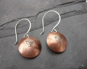 Copper bird earrings song bird domed mixed metal stamped