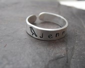 Name on a ring sterling silver personalised hand cuff ring