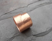 Copper hammered wrap ring rustic chunky look