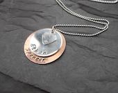 Persaonalised mixed metal pendant metal stamped family jewellery