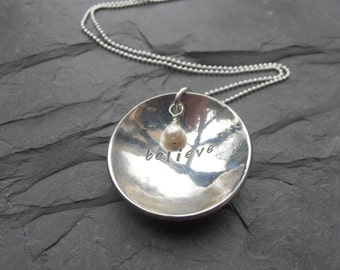 Sterling silver hammered metal stamped believe reversible pendant