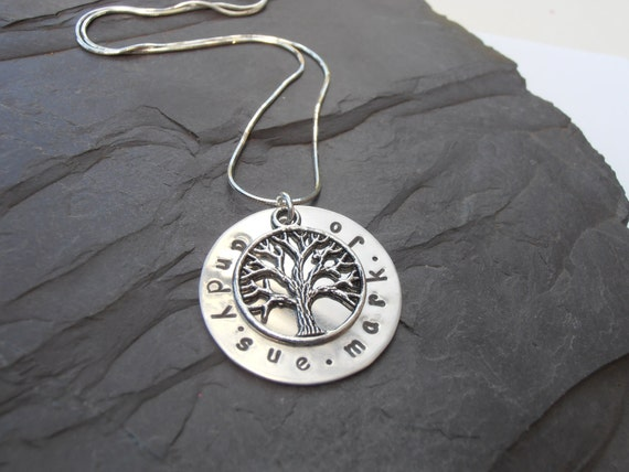 Personalised family tree pendant metal stamped name jewellery
