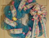 "Spring Blue 24"" Easter Wreath with Easter Ribbon and Eggs, Pink, White, Yellow, Lime Green, Purple, Wall/Door Decor, OOAK"