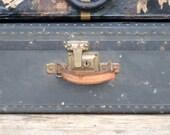 Black Trunk Suitcase Steamer Antique  Storage Wedding 1920's 1930's