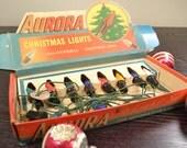 Christmas Lights Vintage 8 Eight Bulb Strand Aurora 1940's Original Package