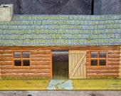 Marx Log Cabin Fort Dearborn Tin Metal Litho Wild West Cowboy 1950's