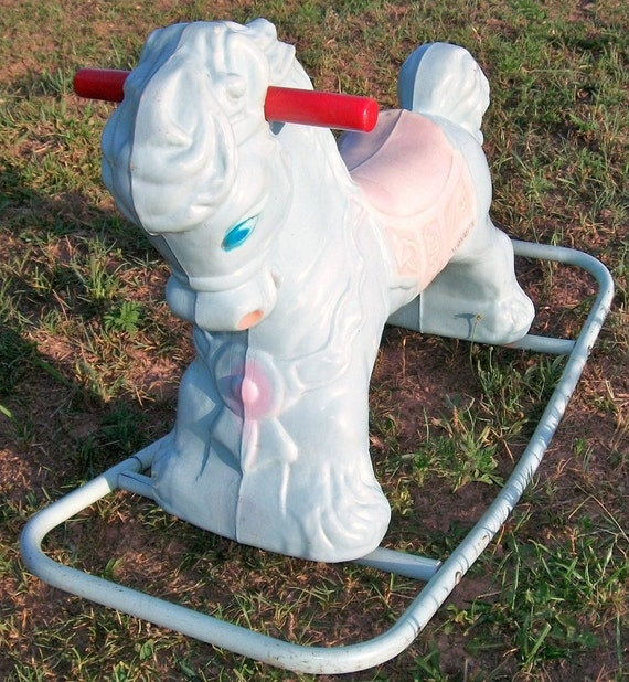 Rocking Horse Vintage Wonder Horse Baby Blue Pink Ride-On Toy