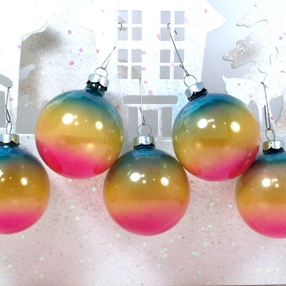 Christmas Ornaments Vintage Shiny Brite Unsilvered  Set of 5 Blended Rainbow Blue Pink Yellow 40's Collectible Christmas In July