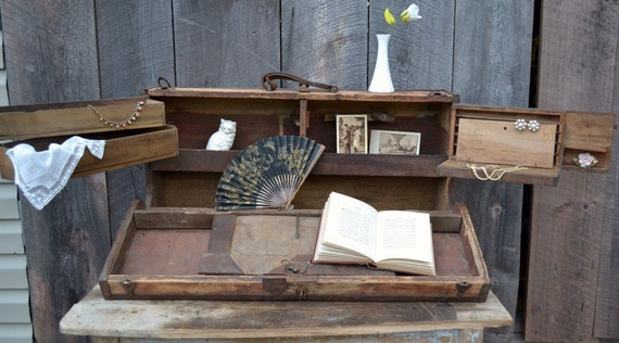 Wooden Shelf Carpenters Toolbox  Display Antique Metal Rustic Primitive