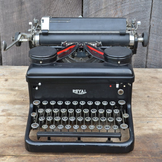 Royal Typewriter Manual KHM 1936 Black Silver Wedding Guest Book Decor