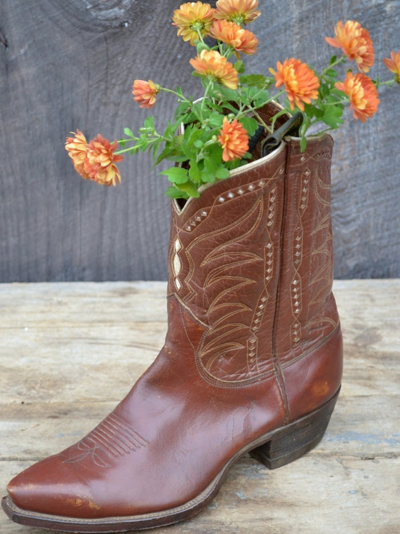 Brown Justin Cowboy Boot Western Decor Display 1950's