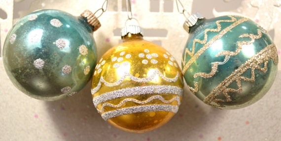 Christmas Ornaments Teal Gold Silver Glitter Vintage Shiny Brite Set of 3 1960's