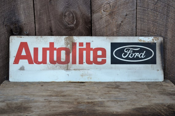Ford Autolite Metal Garage Sign Vintage By