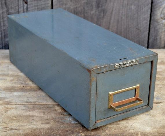 File Drawer Metal Steelmaster Card Cabinet Box Gray Industrial Office