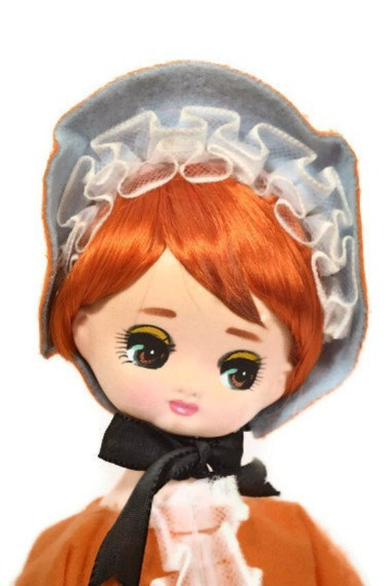 Herman Pecker Pose Doll Red Hair Big Eyes Orange Dress with Tag 1960's
