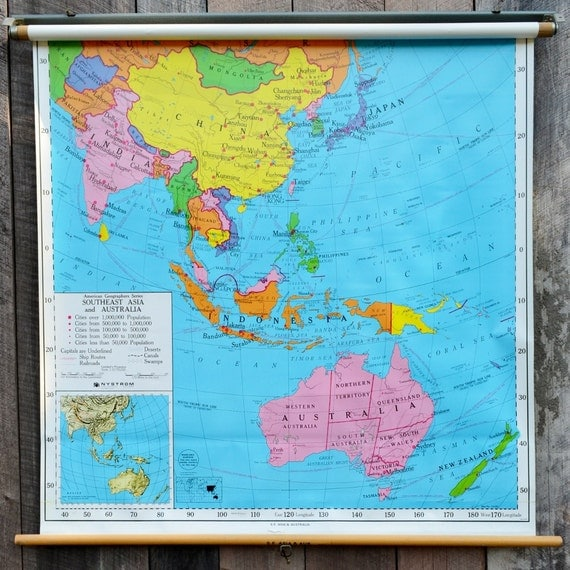 Pull Down Map S.E. Asia Australia Vintage Nystrom School Wall Art 1980's