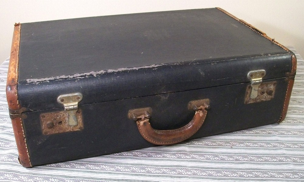 Black Suitcase Old Vintage Shabby Chic Chippy Rusty Brown